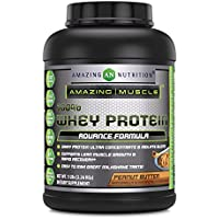 Amazing Muscle 100% Whey Protein Powder - 5 Lbs - Delicious Peanut Butter Flavor.…