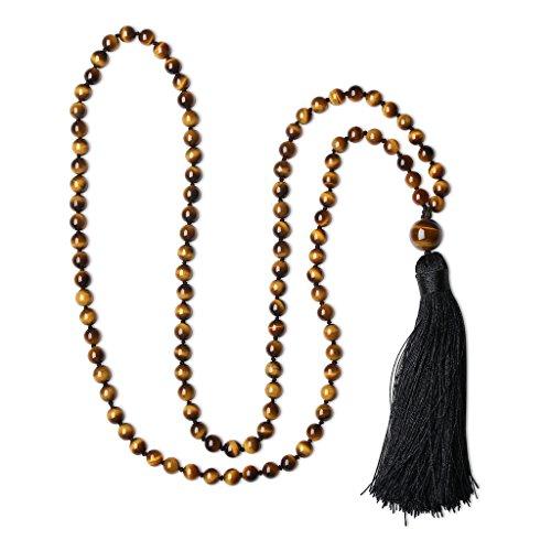 Handgeknüpft 108 Vielfärbige Achatperlen/Rauchquarz/Tigerauge/Rosenquarz/Amazonit/Ruby Zoisit/Onyx 8 Farboptionen Buddhistische Halskette Gebetskette für...