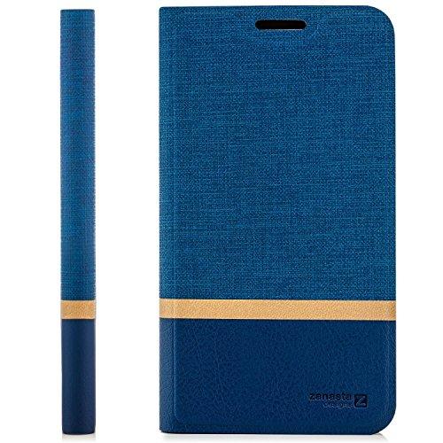 zanasta Tasche kompatibel mit LG X mach Hülle Flip Case Schutzhülle Handytasche mit Kartenfach Blau