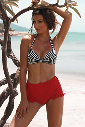 Angerella Frauen Retro Striped Top Halter Neck Back Straps Bikini Zwei St¨¹ck Badeanzug -
