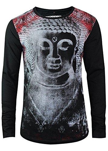 trueprodigy Casual Herren Marken Long Sleeve mit Aufdruck, Oberteil Cool und Stylisch mit Rundhals (Langarm & Slim Fit), Langarmshirt für Männer Bedruckt Farbe: Schwarz 1063103-2999 Black