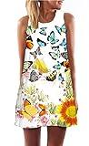 Minetom Damen Sommer Vintage Boho Ärmelloses Sommerstrand Gedruckt Kurzes Minikleid Mädchen Lose Weste Dress T-shirt Tops Kleider Schmetterling DE 34