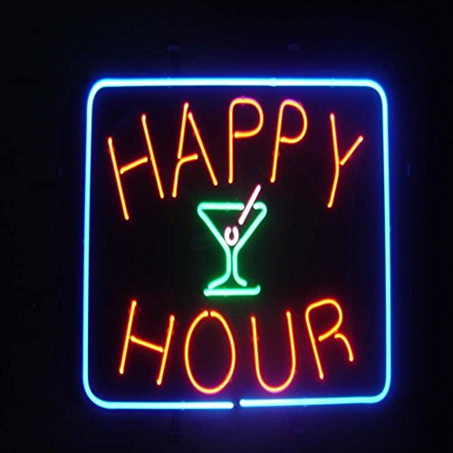 """HAPPY HOUR Real Glass Neon Light Sign Home Beer Bar Pub Recreation Room Game Room Windows Garage Wall Sign (17""""×14"""" Large)"""