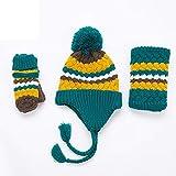 Neue 2018 Kinder Hut Schal Handschuhe dreiteilige Herbst und Winter Baby Mütze Kragen Set ein warmes Gezeiten gelb grün zu halten (Color : Green)