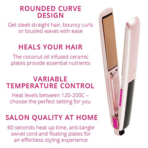 Lee Stafford CoCo LoCo Irons Ceramic Styler & Straightener – Variable Temperature Control and Floating Plates For Silky Smooth Hair- 60 Day Money Back Guarantee