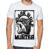 Casotec Dark Wolf Hunter Custom Printed Designer Polyester Sports Round Neck T-Shirt - White Amazon