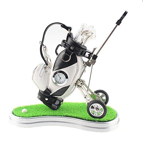 crestgolf Mini Desktop Golftasche Stifthalter mit Grün, Uhr und 3Golf Club Form Stifte, Weiß-Schwarz (Großer Golf-cart Tag)