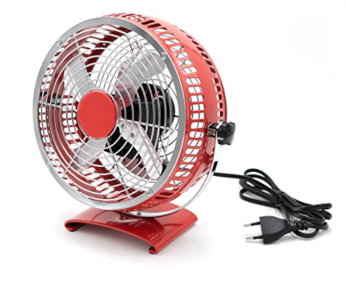 Tischventilator Bodenventilator Ventilator 17,5cm Ø Lüfter 20W Luftkühler Metall (Rot)