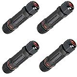 Bermud 4 Stück IP68 Wasserdicht Kabelverbinder Verbindungsmuffe Verbindungsbox für Ø1-13 mm Kabeldurchmesser Erdkabel Wasserdichte - Schwarz
