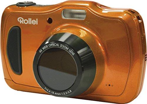 Rollei Sportsline 100 - vielseitige Digitalkamera mit 20 MP, 4-fach optischem Zoom, spritzwasserfest und wasserdicht bis zu 10 Meter mit Foto-Zeitraffer-Funktion - Orange Lcd 230k