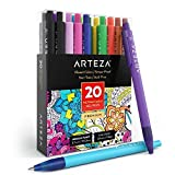 Arteza Penne a Inchiostro Gel, Retrattile, Set da 20 Colori Assortiti, Punta Fine 0.7 mm, Perfette per Scrivere in un Block Notes, Diario, Planner, Documenti Legali, Biglietti di Invito e tanto Altro