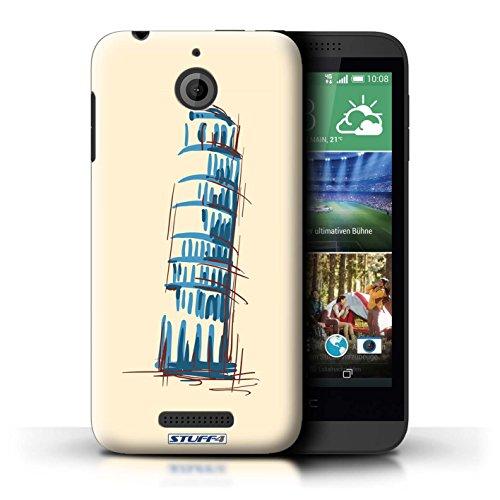 Kobalt® Imprimé Etui / Coque pour HTC Desire 510 / Moulin/Hollande conception / Série Monuments La Tour penchée de Pise