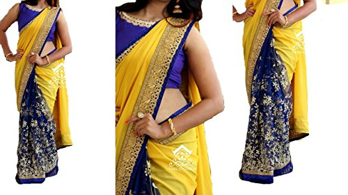 I-Brand Women's Georgette Saree (Isunsa1928-Ib_Yellow)