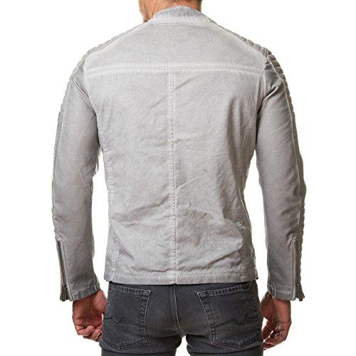 RedBridge Herren Jacke Kunst Leder Biker Gesteppt Beige Grau M6011 Grau
