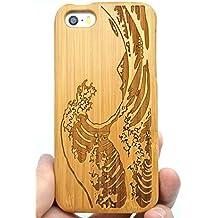 RoseFlower® iPhone SE / iPhone 5S / iPhone 5 Funda de Madera - Seawave bambú - Natural Hecha a mano de Bambú / Madera Carcasa Case Cover con GRATIS Protector de Pantalla para tu Smartphone