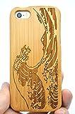 RoseFlower Coque en Bois Naturel pour iPhone Se / 5S / 5 (Ecran: 4,0 Pouces) - Bambou...