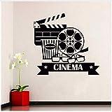 Adesivi murali cinema Adesivo rimovibile Vinile Casa Adesivo Popcorn Cinematografia Decorazione Cinema Destign Poster murale 42 * 40cm