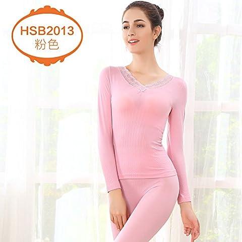 ZHANGYONG*La sig.ra Chiu inverno lace round-collare forma sottile corpo di intimo termico Chiu Yi 1501,L kit (170-175) ,V collare rosa