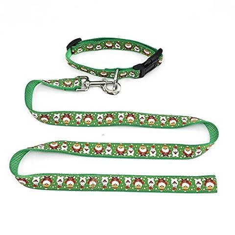 Weihnachten Geschenke Halsband und Führleine Set Feiertag Muster Welpenleine große Hundeleine Grün mit Weihnachtsmann M
