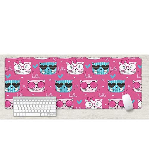 Lnzigk Mauspad Mauspad Übergroßes Nettes Mädchen Cartoon Verdickung Computer Tischset Tastatur Pad, Brille Cool Cat