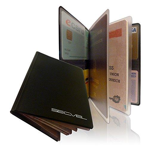 """SECVEL Porta passaporto """"Comfort"""" – protezione RFID/NFC & campi magnetici (per 1 passaporto, 4 carte, documenti o banconote) – nero"""