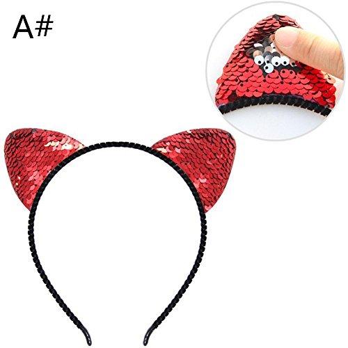 ljtous Kristall Glitzer Katze Ohren Haarband für Mädchen Glanz Pailletten Kitty Katzen Krone Haar Hoop Haarband Haar Zubehör