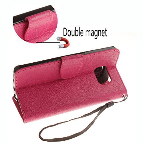 Samsung Mobiltelefon case Magnetisch PU-Leder Geldbörse Flip Wallet Cover in Book Style Stand Case für Samsung Galaxy S6 edge Rot Rose rot