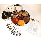 Authentique Spice Box Indien avec double 24cm couvercle (Large), 7 cuillères d'épices & Guide de Spice ensemble libre