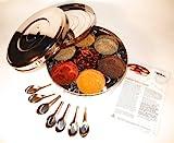Authentische Indisches Gewürz Box mit Doppel-Deckel 24cm (Large), 7 Gewürz Löffel & FREE Spice Leitfadens