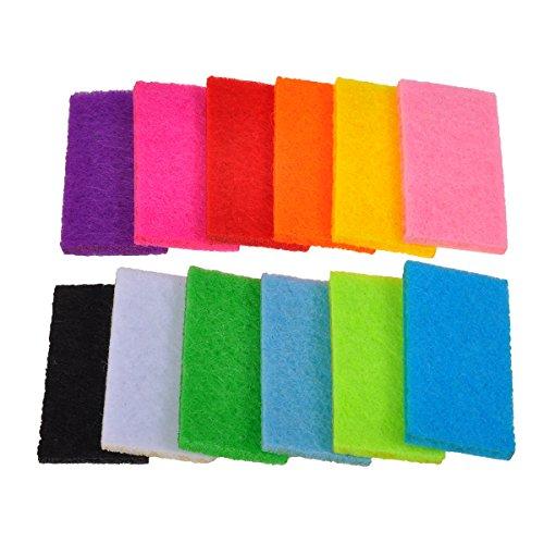 HooAMI 10 PCS Tissus De Cotons Pour Collier Aromatherapie -Forme Orthogone -Couleur Noir & Blanc & Rose