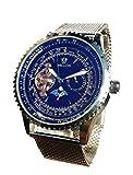 Montre Mécanique Semi-Automatique Style Aviateur- Fond Noir Verre Irisé Reflets bleus -Tourbillon et Phase de Lune -Bracelet maille Milanaise
