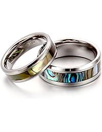 JewelryWe Par de Alianzas de Boda Anillos de Compromiso Originales, Tungsteno Goncha Plateados Anillos de Eternidad Elegantes Pulidos, Regalo de San Valentín