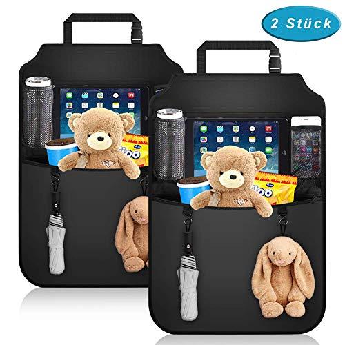 Premium Auto Rückenlehnenschutz (2 Stück), Rücksitz-Organizer für Kinder mit Durchsichtigem Großen Tablet iPad Fach, Autositzschoner Wasserdicht, Kick-Matten-Schutz für Autositz