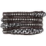 Rafaela Donata Damen-Armband Leather Collection Leder dunkelbraun Hämatit anthrazit Metallbeads silberfarben 60831006