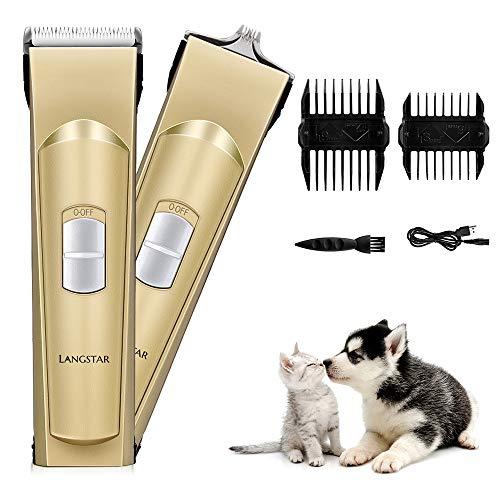 LANGSTAR - Cortapelos eléctrico para Mascotas, cortapelos silencioso para Perros y Gatos, Recargable, silencioso