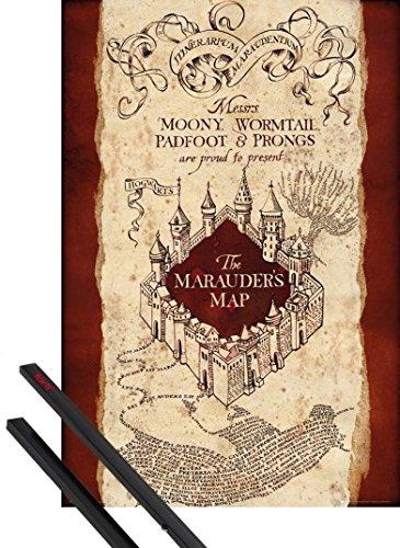 Póster + Soporte: Harry Potter Póster (91x61 cm) El Mapa Del Merodeador Y 1 Lote De 2 Varillas Negras 1art1®
