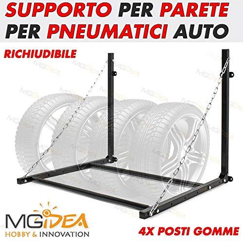 MGIDEA Porta Gomma Supporto Pneumatico Pneumatici da Parete Muro Stagione Salva Spazio Garage Box Auto Moto Bici RICHIUDIBILE Ferro