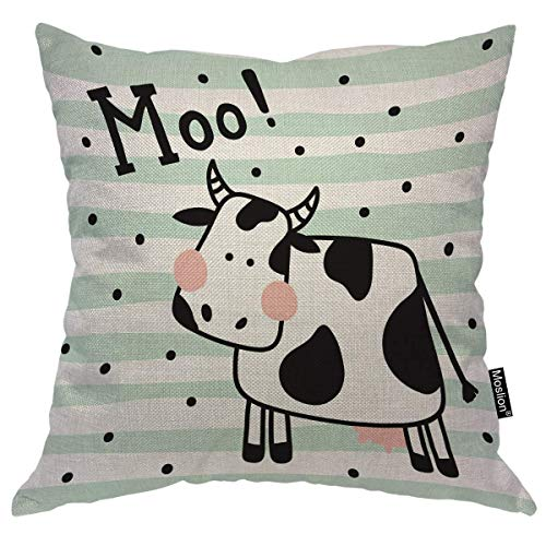 4 Größen Kissenbezug Cow Pillow Case Cute Farm Animal Black White Milk Coween Stripes Polka Dot Spot Throw Pillow Cover Decorative Happy Father's Day Square Accent Cotton Linen Canvas Home -