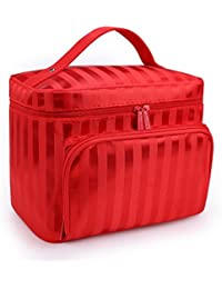 A Type-Red : DRQ Large Cosmetic Bags-Multifunction Portable Travel Toiletry Bag Cosmetic Makeup Bags With Mirror...