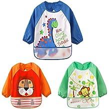 HaimoBurg Pack de 3 Baberos Impermeable PEVA de Manga Larga Para Bebé Niños Niñas 6 a 36 meses