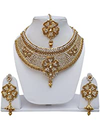 Lucky Jewellery Designer Golden White Color Stone Necklace Set For Girls & Women - B0786G2JPG