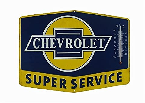 Open Road Brands Chevrolet Thermometer Sign - Super Chevy Service Tin Sign by Open Road Brands