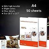Papel de transferencia por sublimación tamaño A4, 50 hojas de papel de transferencia para tela de tela frágico no de algodón, color claro, para camisetas, almohadas