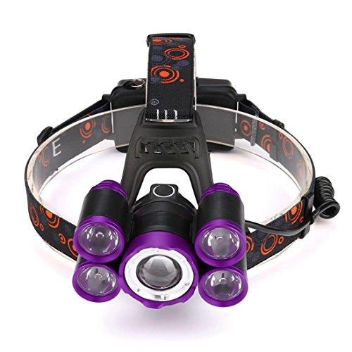 SUCES Stirnlampen 35000 LM 5X XM-L T6 LED Wiederaufladbare Scheinwerfer Travel Head Torch LED Stirnl (C)