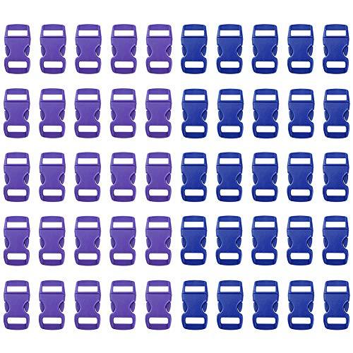 Jalan 50 Stück 15mm Seitenfreigabe Kunststoffschnallen Gürtel Verschluss für Paracord Armbänder, Hundehalsband, Gurtband, Rucksack, Zelt