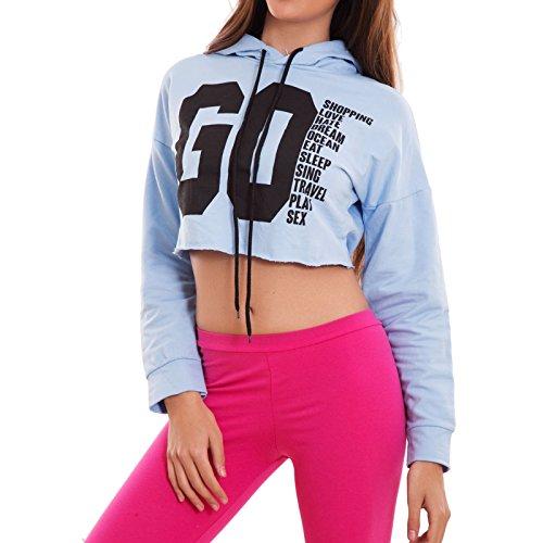 Toocool - Felpa donna maglia corta top fitness cappuccio cotone sport sexy nuova CJ-2522 Celeste
