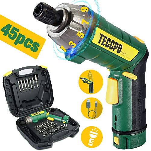 Akkuschrauber, TECCPO 6Nm Mini Akkuschrauber, 45 Zubehörteilen, 9+1 Drehmoment, 2.0Ah Li-Ion Akku, USB-Ladegeräte, 2-Positionen Griff, LED-Licht, Tragbare Werkzeugkasten - Bestes Geschenk für DIY