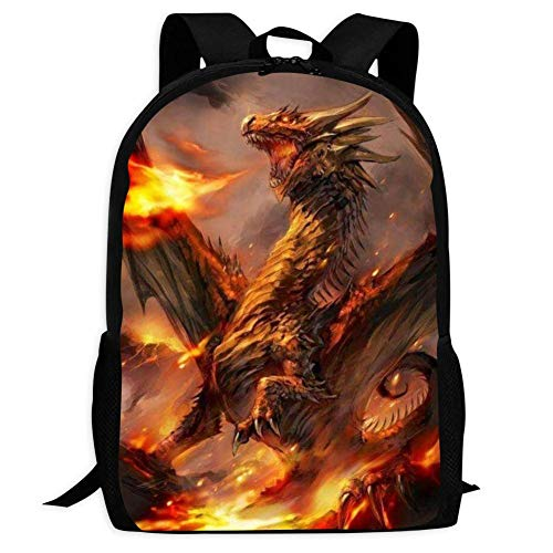 Set di zaino per la scuola, motivo: drago con fiamme, con stampa 3D, Nero (Nero) - Q S Z-PXFP-AGV-4PG