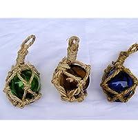 Set di 3 sfere di vetro di rete nave-Fune in vetro 5 cm - Sfera Nave