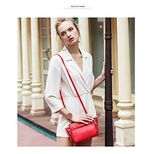 Yoome Lichee Pattern Wings Pure Colore Elegante Tote Ladies Handbags Borse coreane per il college - Red Grigio